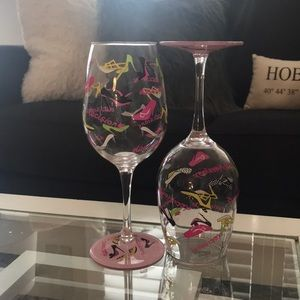 Lolita Acrylic Wine Glass Set of Two - Shoe design